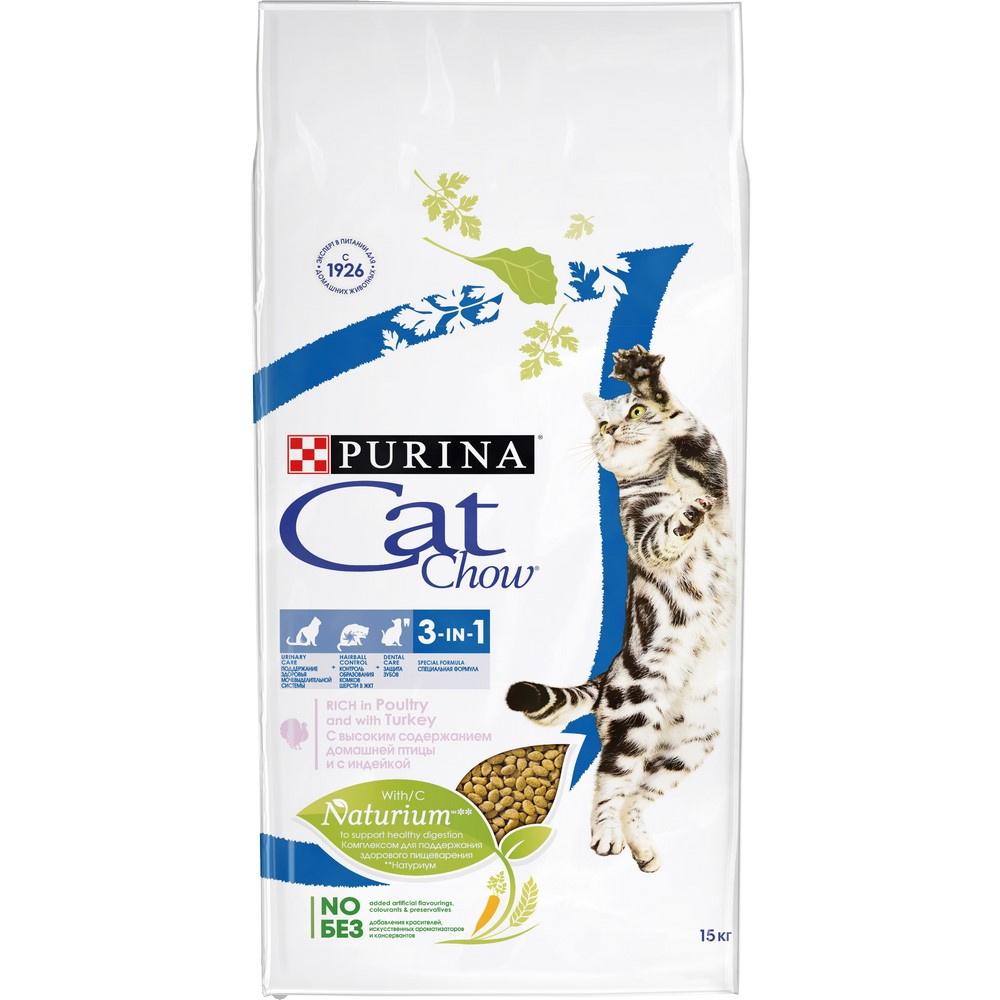 Cat Food Cat Chow Special Care 3 in 1 Rich in Poultry and with Turkey, 15 kg dry food cat chow for adult cats with poultry and turkey 15 kg