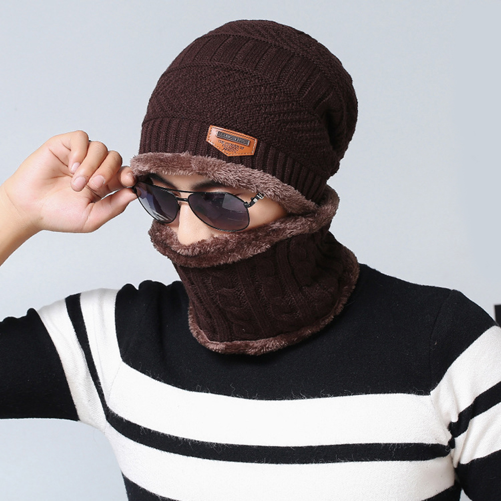 821d6461711 Fashion Beanie Men Winter Warm Faux Fur Lined Baggy Hat Neckerchief Scarf  Cap -in Skullies   Beanies from Apparel Accessories on Aliexpress.com