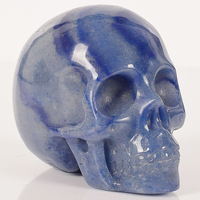 3 inch natural hand craft stone skull statue blue Aventurine head bone figures crystal quartz gemstone feng shui Healing Gift