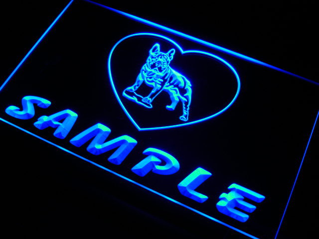 vh-tm Name Personalized Custom French Bulldog Dog House Home Neon Sign
