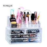 FUNIQUE Makeup Organizer Storage Box Acrylic Cosmetic Container Bedroom Jewelry Storage Box For Women Girls Make