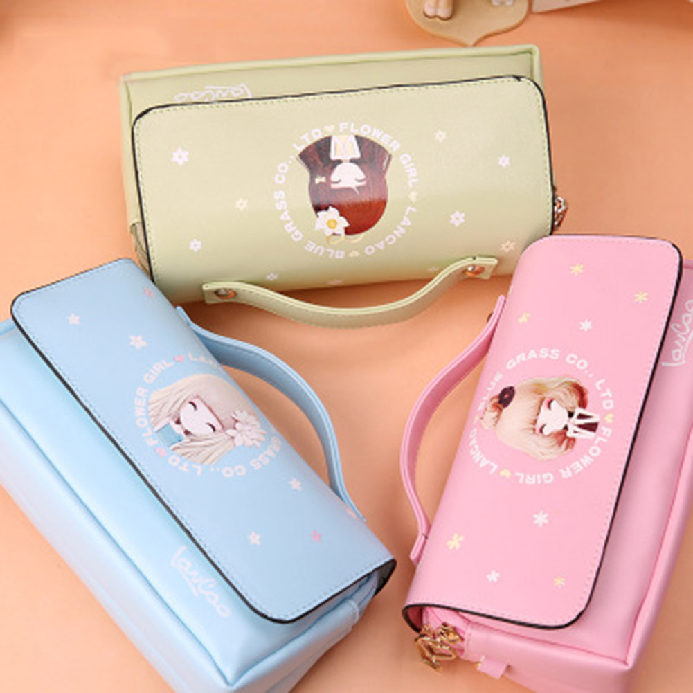 Kawaii Lovely School Pencil Case Large Capacity PU Leather Portable Pencil Bag Case For Girls Christmas Gift Stationery Supplies kawaii cartoon girls school pencil case with lock cute pu leather large capacity pencil bag gift bts pen box stationery supplies