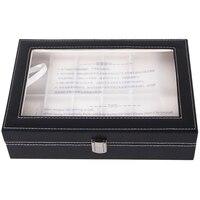 ZLIMSN 12 Siatka Watch Case Box Luxus Watchbox Black Leather Wrist Watch Case Box Uchwyt Caixa Relogio Pudełka Do Przechowywania Biżuterii