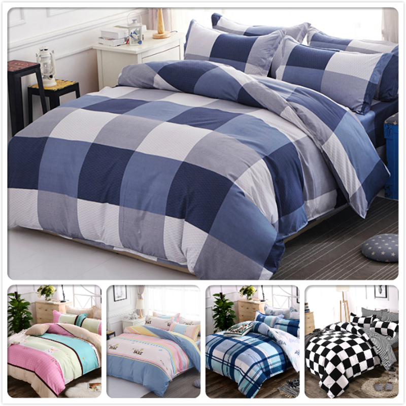 Blue Grey Plaid Classical Duvet Cover Sheet Pillowcase 3/4 Pcs Bedding Sets Adult Kids Cotton Bed Linens Single Queen King Size