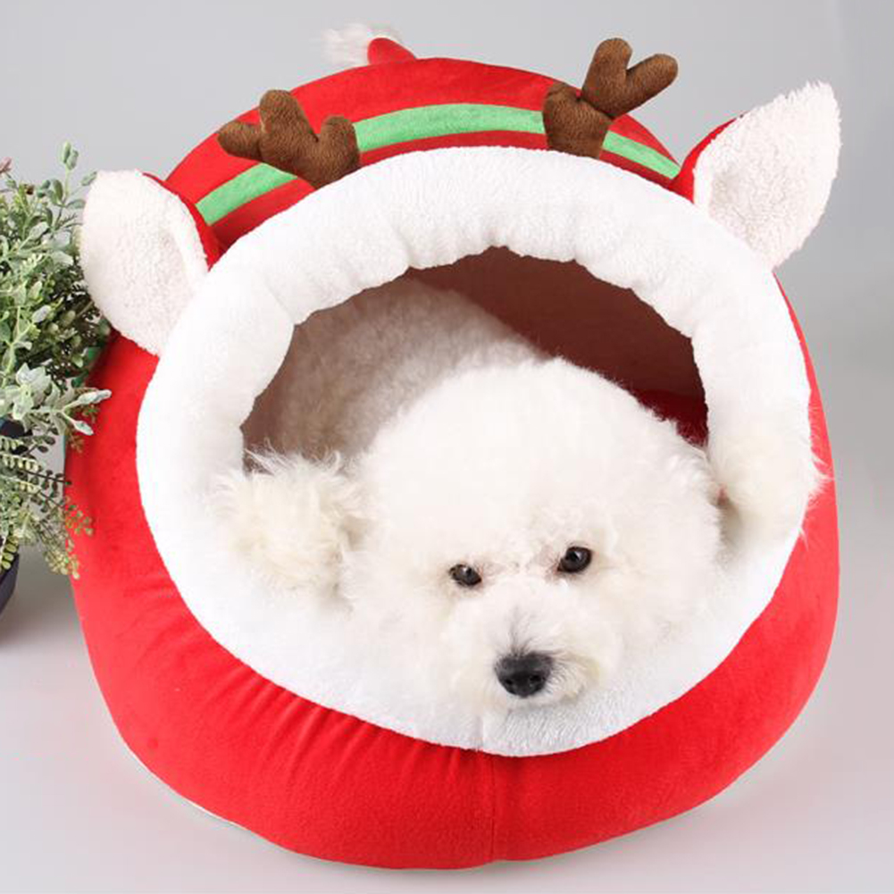 Dog Cat Christmas Deer Warm Pet Nest Bed Lovely Soft Doghouse Cushion Pad Mat ...