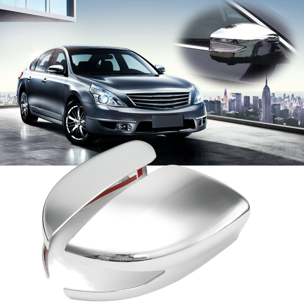 Pair Chrome Plating Rearview Mirror Cover Decoration Right Left For Nissan Altima 2013 2014 2015 2016 Without Signal