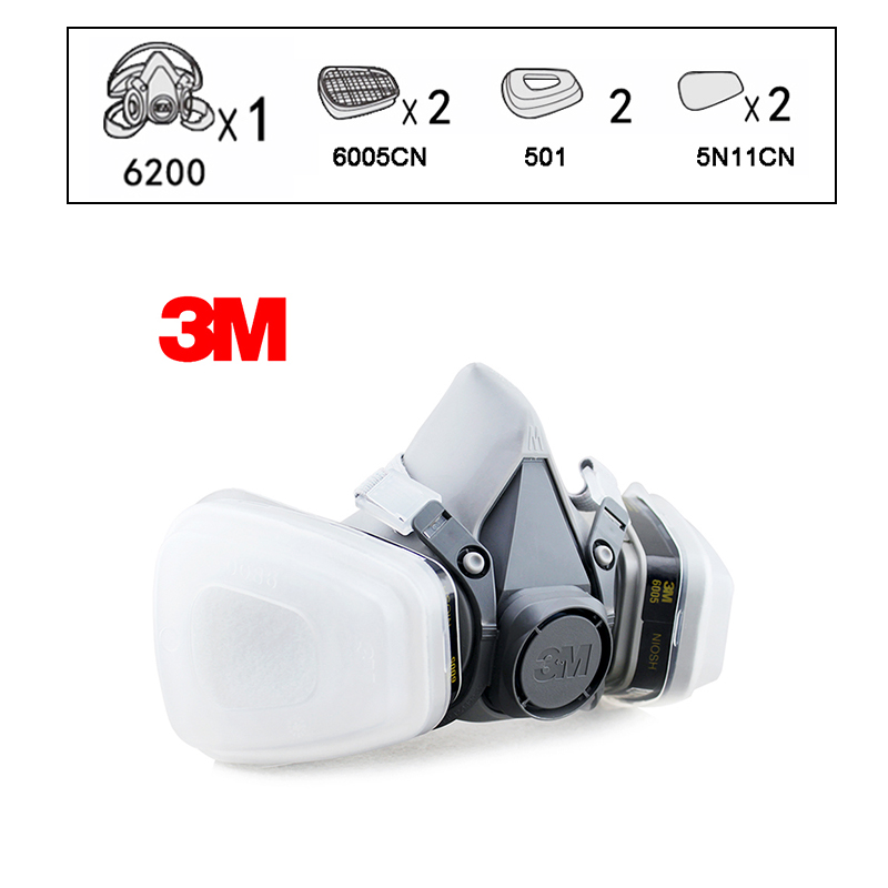 3M 6200 6005 Reusable Half Face Mask Respirator 3M Formaldehyde Organic Vapor Cartridge 7 Items for