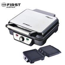 Гриль-пресс FIRST FA-5343-2 Black (мощность 1800Вт, 2 плиты-гриль с антипригарным покрытием, емкость для мяса, регулировка температуры, световой индикатор работы)