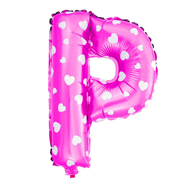 uxcell foil letter p heart pattern helium balloon birthday wedding decor fuchsia 16