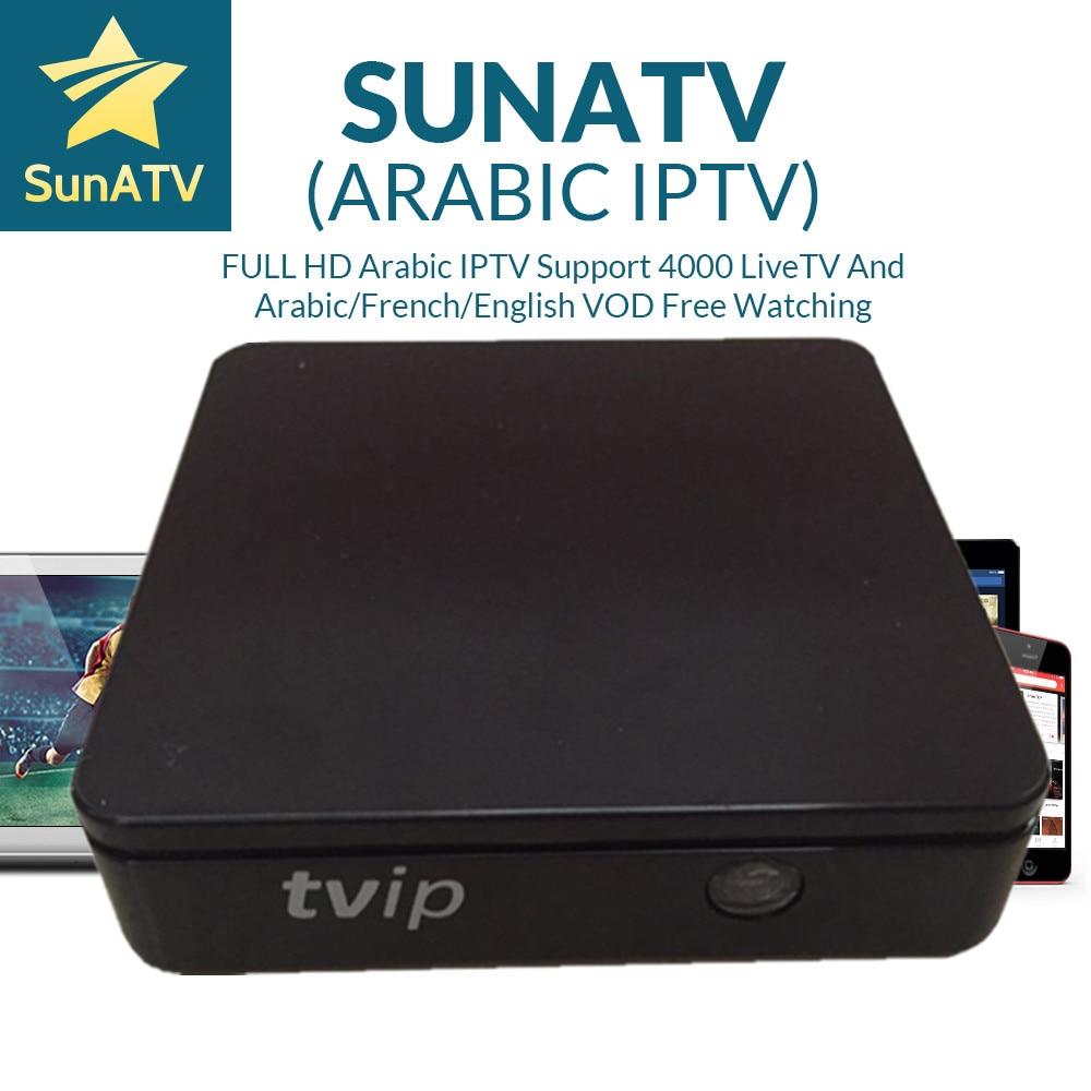 SUNATV IPTV Suer Stable TVIP Box TVIP412 avec 1 an IPTV Linux Double système Support H.265 1920x1080 7000 canaux configurés