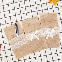 1pc Christmas Wedding Style Burlap Lace Cutlery Pouch Tableware Party Supplies Holder Bag Hessian Table Decoration Accessories