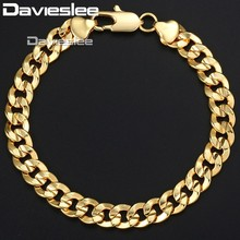 Davieslee 9mm 20cm 23cm Mens Bracelet for Women 585 Rose Gold Filled Jewelry Cuban Chain DLGB34