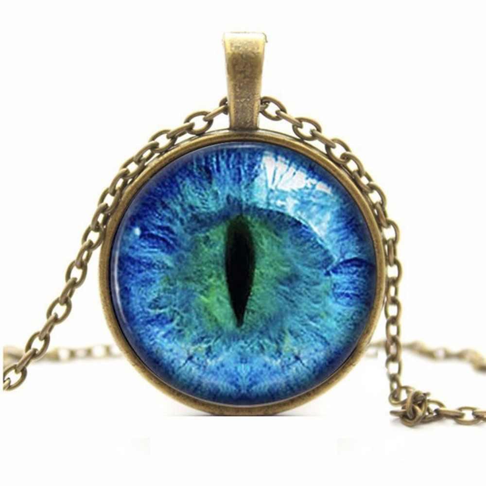 סגנון חדש 6 צבעים הדרקון שרשרת עין חתול זכוכית מצופה bijoux תכשיטי קסם שרשרת תליון עגול מתנת אישה femme