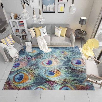 Else Green Blue Yellow Peacock Bird Feathers 3d Print Non Slip Microfiber Living Room Decorative Modern Washable Area Rug Mat