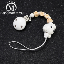 MIYOCAR beautiful safe wood bear pacifier clip dummy holder with any name can make  SP017