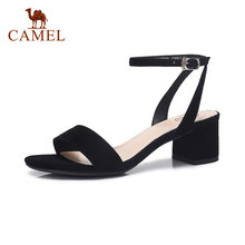 CAMEL Spring New Women Roma Elegant Sandals Ladies Med Heel Casual Pumps Women Expose Toe Party Dress Single Shoes Buckle Soft(China)