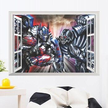 Cartoon transformacja robot symulacja okna naklejki ścienne dla dzieci pokój ściana tła dekoracji 3D efekt stereo naklejka ścienna