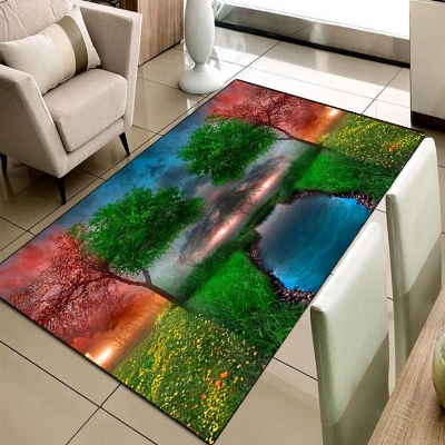 Else Nature Landscape View River Background 3d Print Non Slip Microfiber Living Room Decorative Modern Washable Area Rug Mat