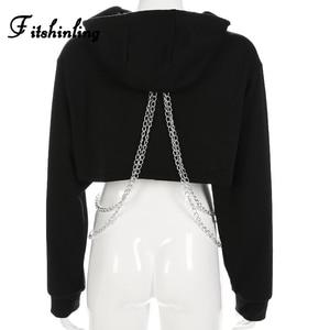 Image 4 - Fitshinling Chains cropped hoodie autumn harajuku streetwear cotton women hoodies sweatshirts crop top irregular red hoody 2018