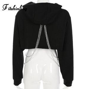 Image 4 - Fitshinling correntes recortadas hoodie outono harajuku streetwear algodão hoodies moletom feminino colheita topo irregular vermelho com capuz 2018