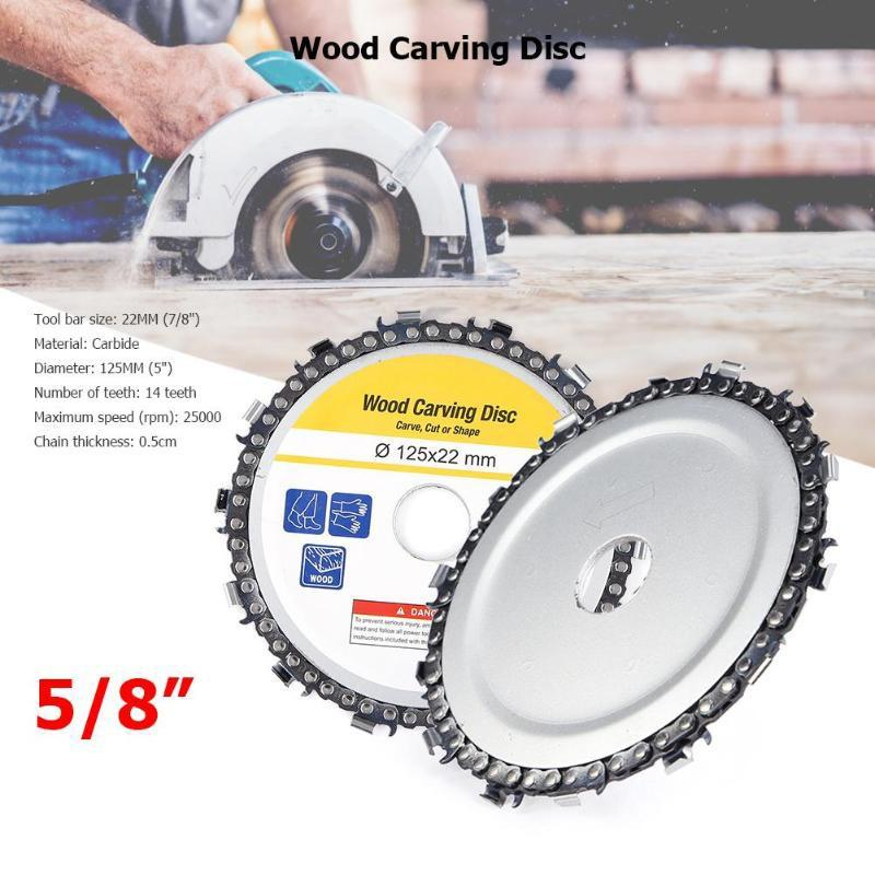 New 5 Inch Wood Carving Disc 14 Tooth Grinder Disc With Chain Saw Blades For 125x22mm Angle Grinder Carpenter Wood Cutting Tools (8)
