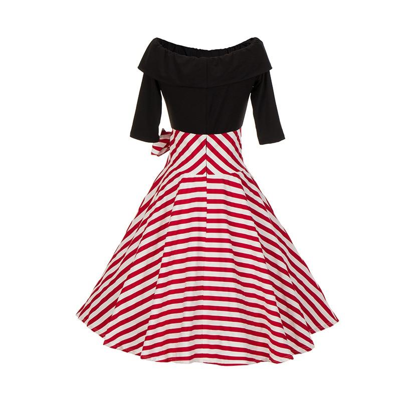 Dress 2018 Autumn Summer Restore ancient ways womens clothing collar sleeve splice stripe big a word dress Vestido