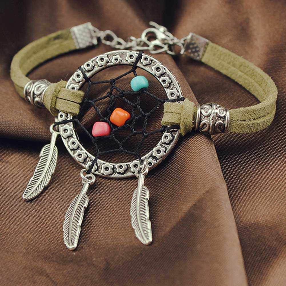 zheFanku Vintage Mini Dreamcatcher Bracelet Handmade Dream Catcher Net Cool Fashion Bracelet