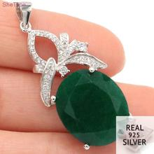 SheType 6.1g Deluxe Big Gemstone 18x13mm Real Green Emerald CZ Woman's 925 Solid Sterling Silver Pendant 39x16mm