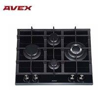 Встраиваемая панель с газконтролем, с чугунными решетками  AVEX HM 6045 B, ширина 60 см, WOK конфорка, автоматический электро-поджиг, поверхность-черное закаленное стекло,ручки темные сфера