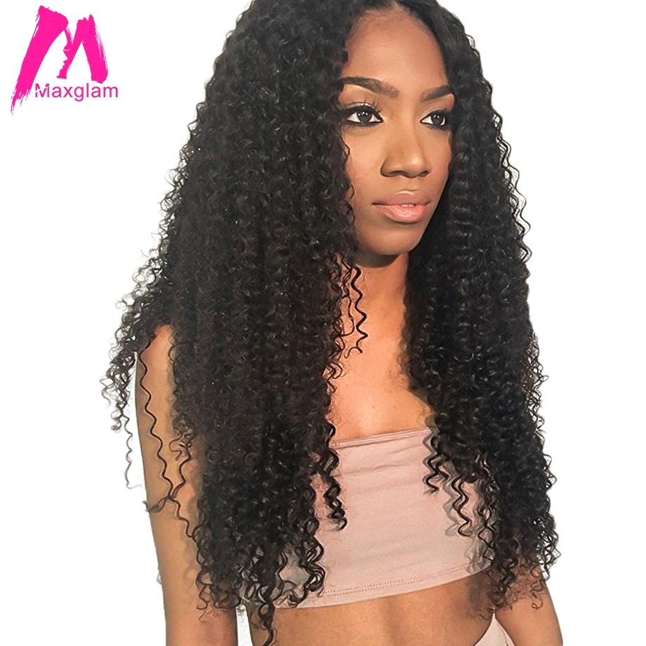 Maxglam lace front human hair wigs for black women kinky curly brazilian virgin hair wig pre