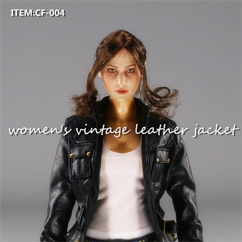 1/6 Scale Clothes Accessories CF 004 Women's Leather Jacket Coat Retro vintage Black Suit W Belt Motorcycle clothing 12 Figure