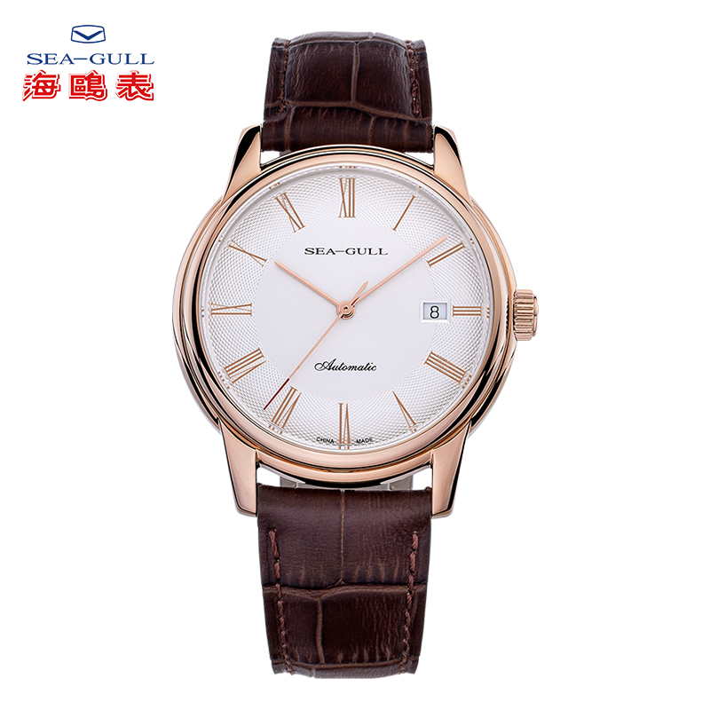 Sea-Gull Couple Mechanical Watches Lover Men Women Simple Leather Buckle 30m Waterproof Calendar Watches Stainless D519.405