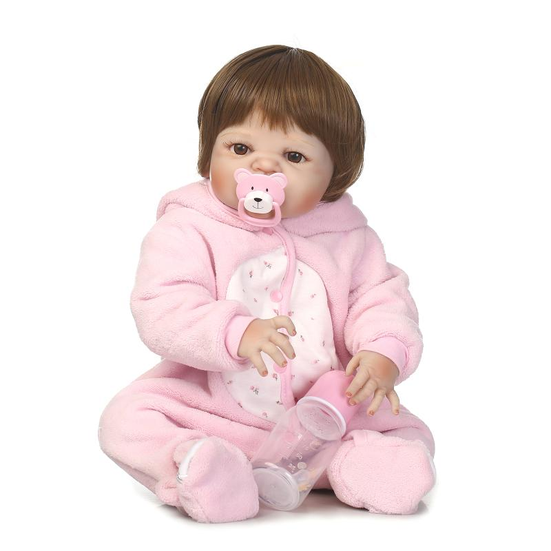 Newborn Full Body Silicone Bebe Doll Reborn 22 Inch Vinyl Realistic Collectible Doll Reborn Baby Simulator Dolls For Girls Toys цена