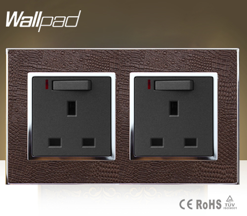 Wallpad Luxury Double 13 A UK Switched Socket Goats Brown Leather 1 Gang Switch and 13A Wall Socket With Neon Free Shipping wallpad 13a uk socket luxury hotel black crystal glass 86 size 13a uk standard wall socket free shipping
