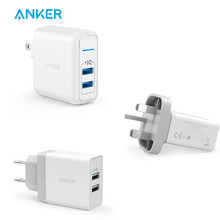 Anker 24 W 2-Port US/Uk/EU Plug USB Charger Dinding dengan Poweriq Teknologi untuk iPhone, IPad, Samsung, Nexus, HTC, Laptop dan Lebih(China)