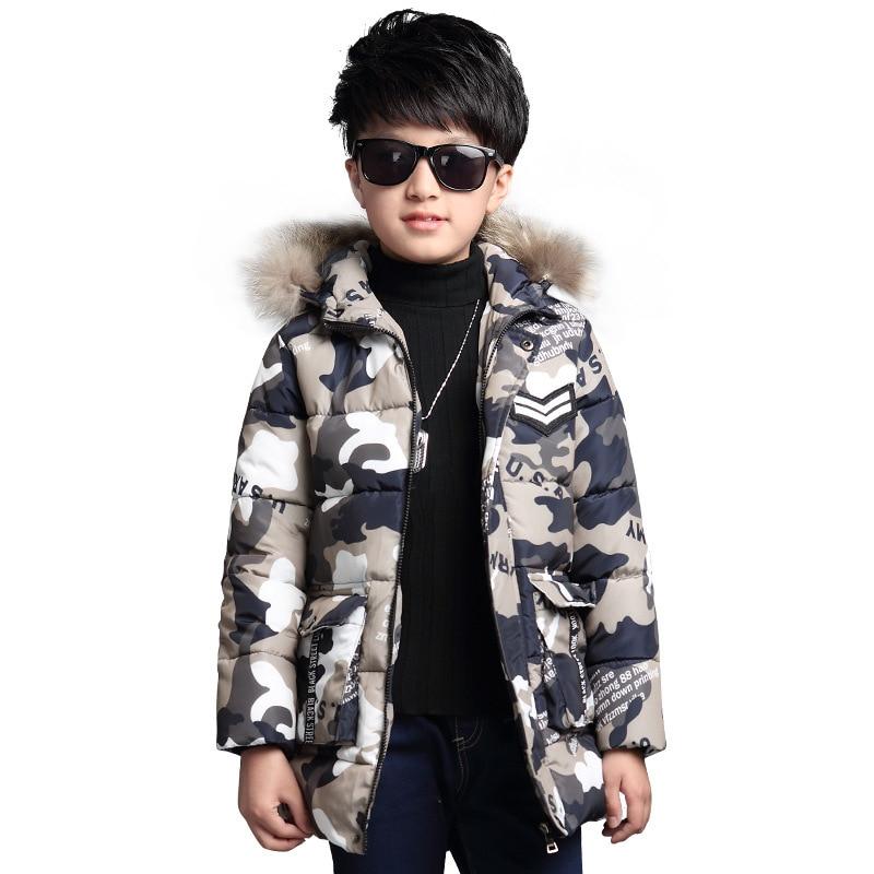 Children's jacket boy winter jacket 2017 baby warm jacket hooded jacket camouflage cotton clothing 5-14 children's clothing 7