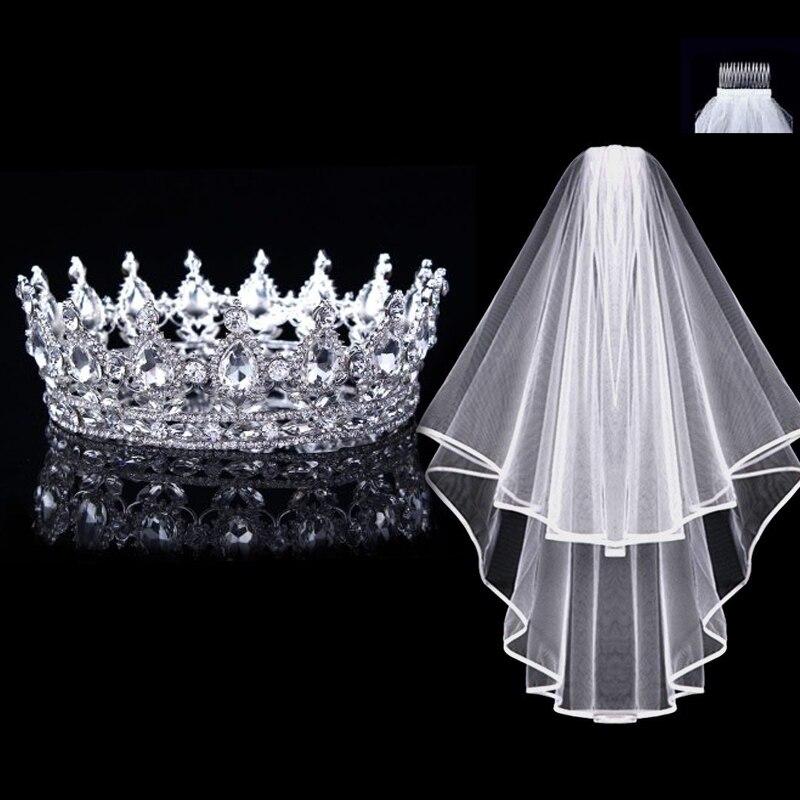 1 Strass Tiara, 1 Hochzeit Schleier Mit Kamm, Crown Tiara Braut Barock Crown Silber Kristalle Kopfschmuck Hochzeit Zubehör Krankheiten Zu Verhindern Und Zu Heilen