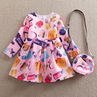 Baby Girl Autumn Winter Long Sleeves Dress Fashion Backpack Multicolor Pattern Pattern Clear Bright Party Dress