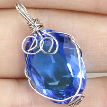 Handamde Oval Paris Blue Topaz Wire Wrap Woman's 925 Silver SheCrown Pendant 27x15mm