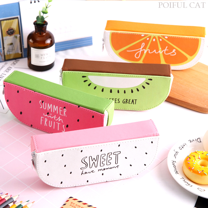 Cute Fruit Pencil Cases For Girls PU Leather Watermelon Pencil Box Stationery Pouch School Office Supplies