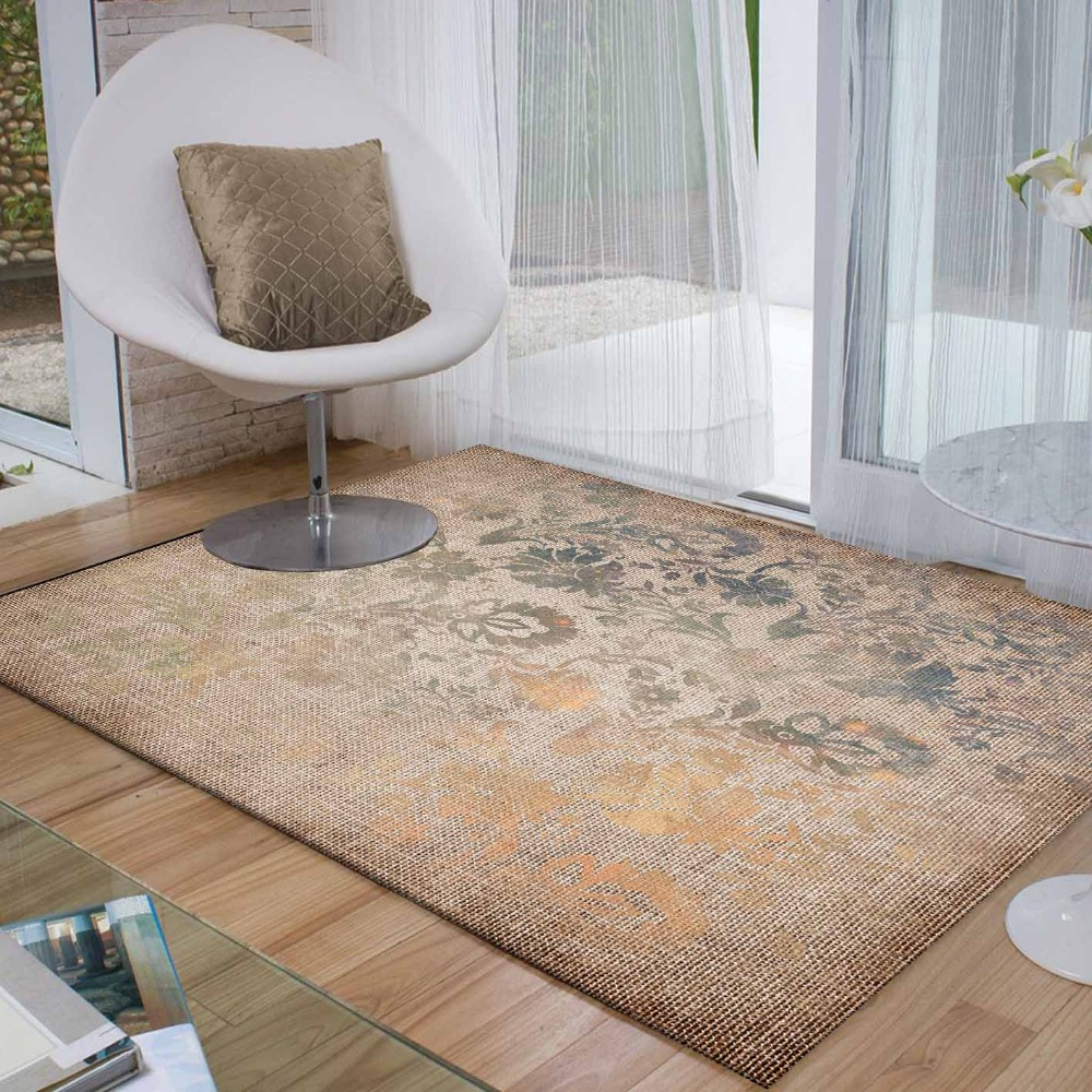 Else Brown Gray Yellow Retro Flowers Floral 3d Print Non Slip Microfiber Living Room Decorative Modern Washable Area Rug Mat