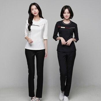 Estilo coreano esteticista tres cuartos manga abrigo + Pantalones ...