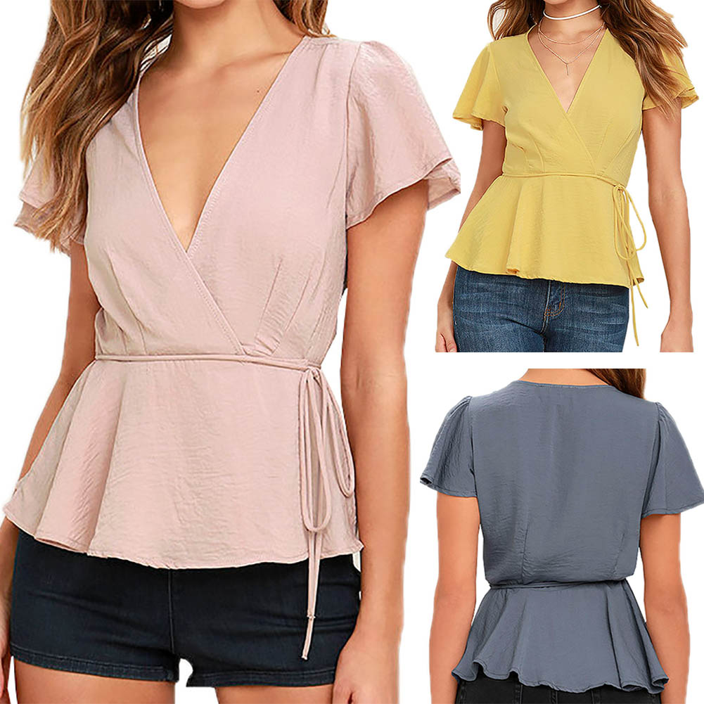 Women sexy v neck low cut shirts short sleeve chic blouse for French cut shirt sleeve