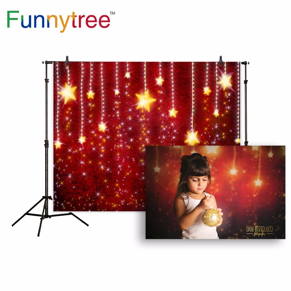 Funnytree backdrop for photography studio glitter stars red dream Christmas background photocall photobooth photo prop