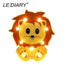 LEDIARY 3D Colorful Animal LED Lion Night Lights 3V*2AA Dry Battery Atmosphere Home Decoration Baby Bedside Table Lamp For Kids(China)