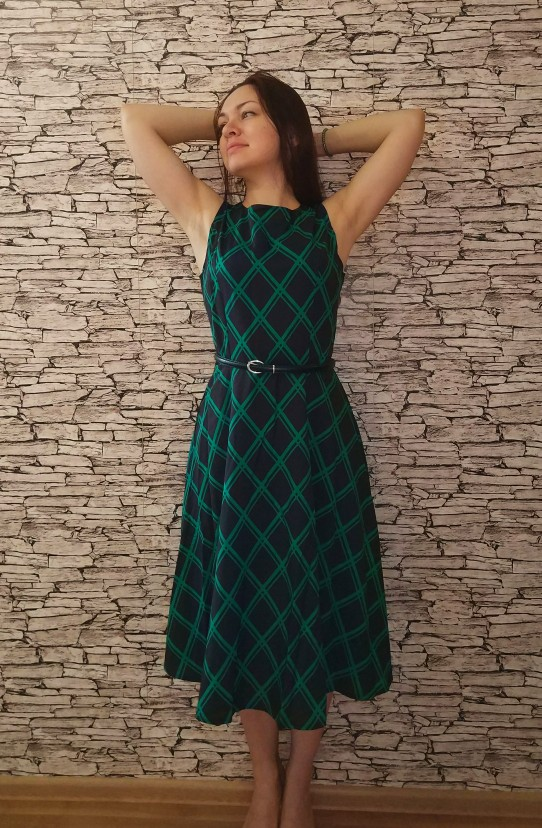 Rosetic Gothic Women Vintage Dress Plaid Sashes O-Neck Sleeveless Green Girl Gift Party Sexy Retro Cool Goth Casual Summer Dress