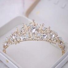 Nupcial Coroas Artesanal Tiara Diadema Acessorios cabelo Tiara de Cristal Do Casamento Da Noiva Do Casamento Da Coroa Da Rainha