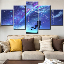 Home Decoration Posters Framework Living Room 5 Panel Anime Your Name Modern Painting On Canvas Wall Art Pictures HD Printed