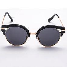 5a91073344 2018 Half Frame Club Round Sunglasses Women Men Retro Fashion Brand  Designer Mirror Sun Glasses For Ladies Vintage Shades