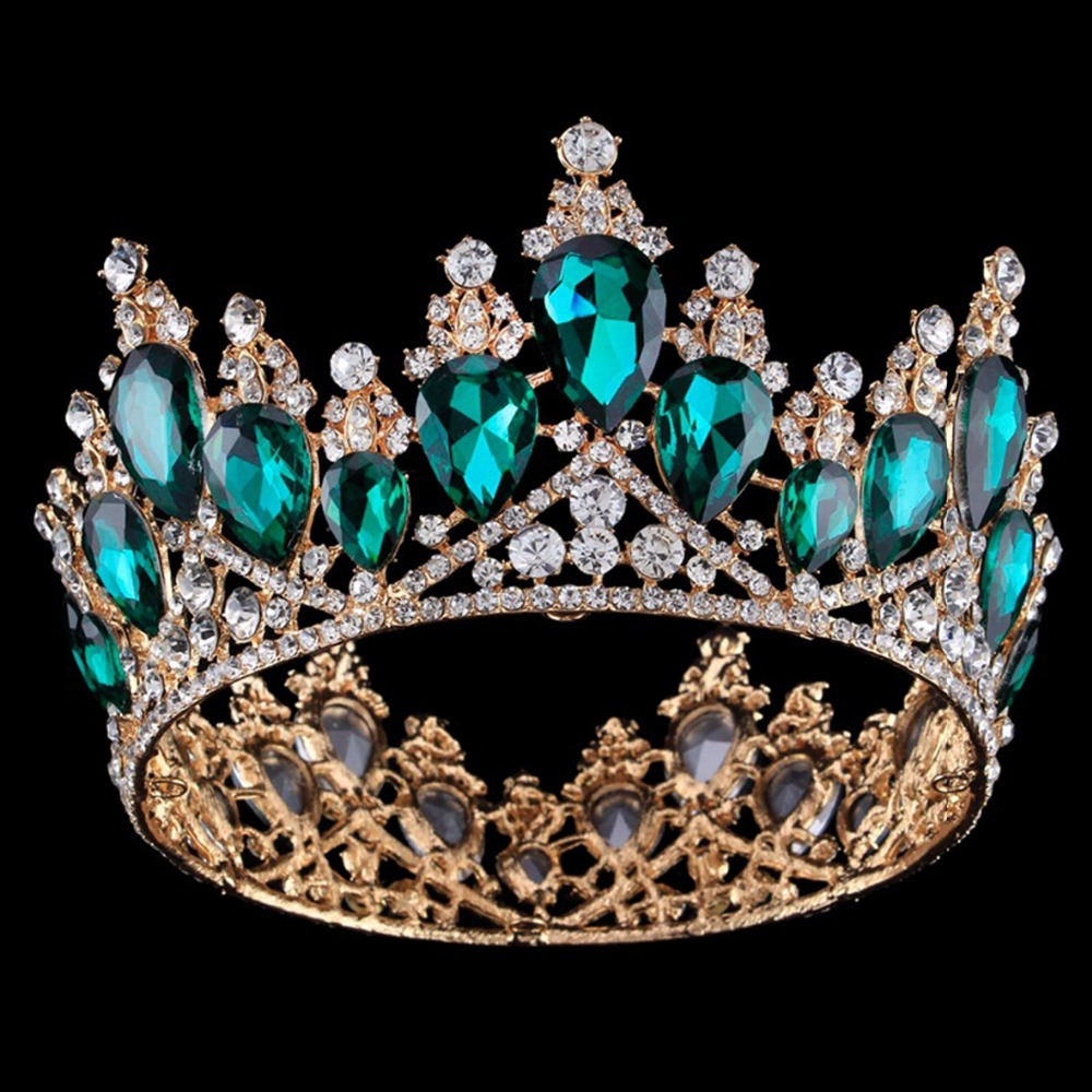 Baroque Queen King Bride Tiara Crown For Women Big Crowns Prom Diadem Women Hair Ornaments Wedding Hair Jewelry Accessories chain